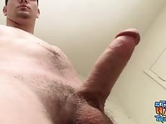 Hung cock sucker Lex Lane masturbates his fat rod solo