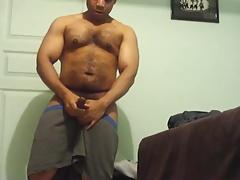 Cute Black Hairy Cub Jerks Off & Cums