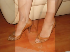My friend loaned me his wife's brown peep-toe shoes