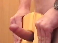Wood chair fuck cum