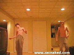 Twins dance and wank
