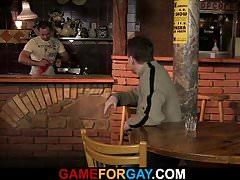 He seduces hetero bartender into sex