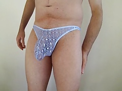 blue lacy thong