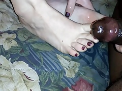 Best Friend Red Sparkle Toes Footjob