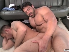 Muscular tattooed poofter gets his butt pounded deep and hard