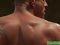 Ripped wrestle hunk bangs his opponent