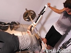 Hunky stepdad hammering twinks tight ass after workout