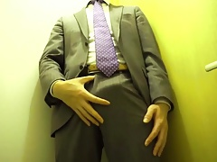 Standing jerk off in suit