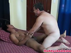Asian twink barebacked by oldguy