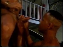 Black queer and his buddy enjoy some banging in the garage