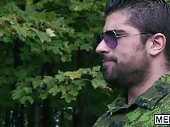 Sgt Bellamy Bradley drills military twink Ryan Bones