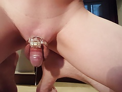 Chastity - 12th day - caged prostate milking