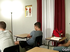 Gay threesome in the classroom