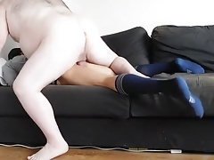 Daddy fucks twin and fill his mouth in cum