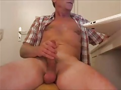 Straight mature man jerking his big cock