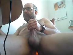 Mature man dildo and cumshot