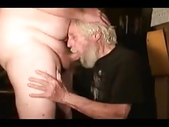 Grandpa eating the other man's sperm