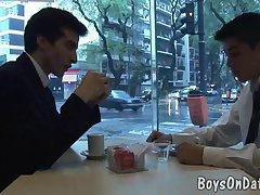 Two lads strip suits for a gay sex date