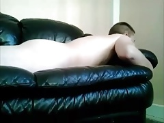 Leather couch humping rubbing cum compilation