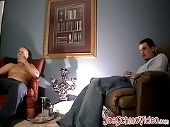 Ugly fat butt muncher loves jerking off his giant prick