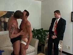 Old having an intercourse blonde man tight ass