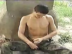 Gay Soldier Beating Off Outdoor