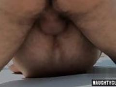 Hairy boy oral sex and facial