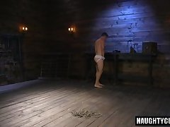 Hot slave dildo with cumshot