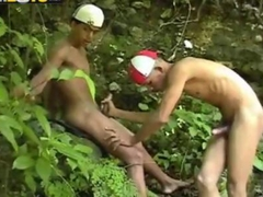 Latinos Bareback and Suck in the jungle