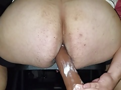9 inch dildo in big white ass