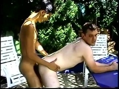 A homo gives a rimjob to his buddy and they bang outdoors