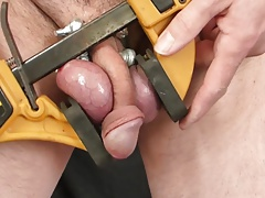 Shooting Cum from a Clamped Testicle