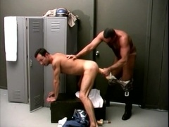 A gay cop gets his ass pounded with a massive dildo in the locker room