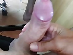 Stroking my big hard wet cock