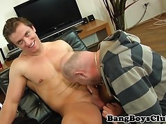 Cockstroking euro stud rimmed by oldman