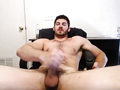 Hairy Muscle Hunk Jerks Off & Cums