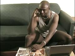 Sexy black male sucks and fucks cock
