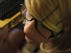Cute blonde girl sperm painted face