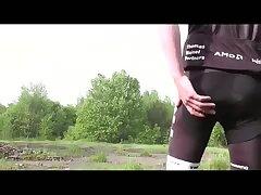 Horny Biker Beating Off Outdoor