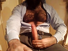 Hairy Antonio Shoots Cum on his Chest and Beard