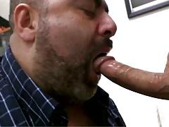 Chubby daddy bear sucking cock