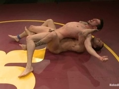 A gay gets his ass and mouth fucked on tatami after a fight