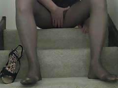 Pants heels pantyhose no cum