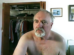 Mature man cums on cam