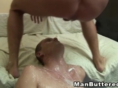 A gay gets his ass fucked in missionary position and enjoys a facial