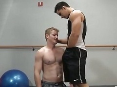 Jock homosexual dudes get their purple rods hard and wet in the gym