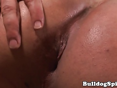 Solo hunk toying his lubed ass while tugging