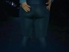 Big fat ass legging in public
