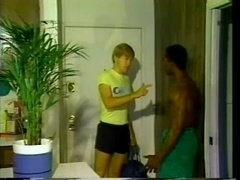 Blonde poofter gets naughty with a black stud and enjoys a facial