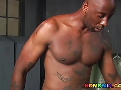 White dude enjoying a black cock in his ass